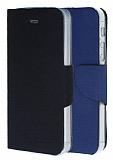 Eiroo iPhone 5 / 5S �ift Renk Kapakl� Siyah ve Lacivert Deri K�l�f