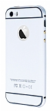 Eiroo iPhone 5 / 5S Metal Kenarl� Beyaz Rubber K�l�f