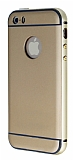 Eiroo iPhone 5 / 5S Metal Kenarl� Gold Rubber K�l�f