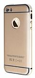 Eiroo iPhone 5 / 5S Metal Kenarl� Gold Rubber K�l�f