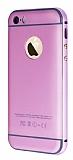 Eiroo iPhone 5 /5S Metal Kenarl� Pembe Rubber K�l�f