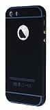 Eiroo iPhone 5 / 5S Metal Kenarl� Siyah Rubber K�l�f