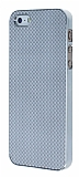 Eiroo iPhone 5 / 5S Silver Metal Kenarl� Gri Rubber K�l�f