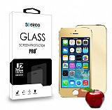 Eiroo iPhone SE / 5 / 5S Ön + Arka Tempered Glass Ayna Gold Cam Ekran Koruyucu