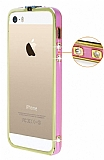 Eiroo iPhone 5 / 5S Pembe �eritli Ta�l� Metal Bumper �er�eve Gold K�l�f
