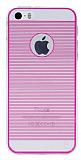 Eiroo iPhone 5 / 5S Silikon Kenarl� Ultra �nce Kristal Pembe K�l�f