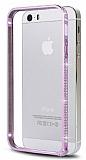 Eiroo iPhone 5 / 5S Ta�l� Metal Bumper �er�eve Pembe K�l�f