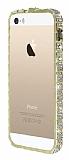 Eiroo iPhone SE / 5 / 5S Taşlı Snake Bumper Çerçeve Gold Kılıf