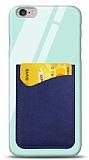 Eiroo iPhone 6 / 6S Silikon Kenarlı Kartlıklı Mavi Cam Kılıf