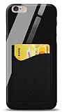 Eiroo iPhone 6 / 6S Silikon Kenarlı Kartlıklı Siyah Cam Kılıf
