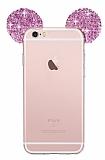 Eiroo iPhone 6 / 6S Taşlı Kulaklı Pembe Silikon Kılıf
