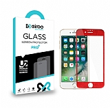 Eiroo iPhone 6 Plus / 6S Plus Curve Tempered Glass Full Kırmızı Cam Ekran Koruyucu