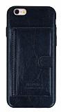 Eiroo iPhone 6 Plus / 6S Plus Kartlı Standlı Deri Siyah Rubber Kılıf
