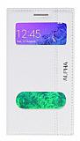 Samsung Galaxy Alpha Gizli Mıknatıslı Çift Pencereli Beyaz Kılıf