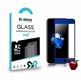 Eiroo iPhone 7 Ön + Arka Tempered Glass Ayna Lacivert Cam Ekran Koruyucu