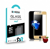 Eiroo iPhone 7 Plus / 8 Plus Ön + Arka Tempered Glass Ayna Gold Cam Ekran Koruyucu