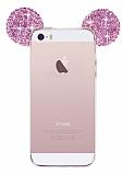 Eiroo iPhone SE / 5 / 5S Taşlı Kulaklı Pembe Silikon Kılıf