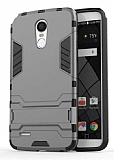 Eiroo Iron Armor LG Stylus 3 Standlı Ultra Koruma Dark Silver Kılıf