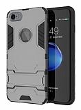 Eiroo Iron Armor iPhone 6 / 6S Standlı Ultra Koruma Dark Silver Kılıf