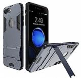 Eiroo Iron Armor iPhone 7 Plus Standlı Ultra Koruma Lacivert Kılıf