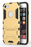 Eiroo Iron Armor iPhone 7 Standlı Ultra Koruma Gold Kılıf