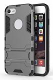 Eiroo Iron Armor iPhone 7 / 8 Standlı Ultra Koruma Dark Silver Kılıf