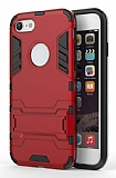 Eiroo Iron Armor iPhone 7 Standlı Ultra Koruma Kırmızı Kılıf