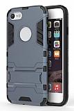 Eiroo Iron Armor iPhone 7 Standlı Ultra Koruma Lacivert Kılıf