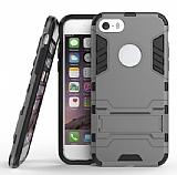 Eiroo Iron Armor iPhone SE / 5 / 5S Standlı Ultra Koruma Dark Silver Kılıf