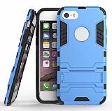 Eiroo Iron Armor iPhone SE / 5 / 5S Standlı Ultra Koruma Mavi Kılıf