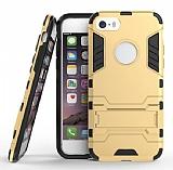 Eiroo Iron Armor iPhone SE / 5 / 5S Standlı Ultra Koruma Gold Kılıf