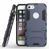 Eiroo Iron Armor iPhone SE / 5 / 5S Standlı Ultra Koruma Lacivert Kılıf