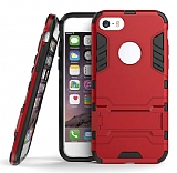 Eiroo Iron Armor iPhone SE / 5 / 5S Standlı Ultra Koruma Kırmızı Kılıf