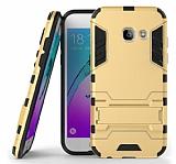 Eiroo Iron Armor Samsung Galaxy A7 2017 Standlı Ultra Koruma Gold Kılıf