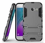 Eiroo Iron Armor Samsung Galaxy A7 2017 Standlı Ultra Koruma Dark Silver Kılıf
