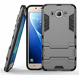 Eiroo Iron Armor Samsung Galaxy J5 2016 Standlı Ultra Koruma Dark Silver Kılıf