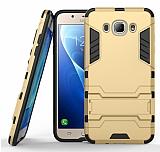 Eiroo Iron Armor Samsung Galaxy J5 2016 Standlı Ultra Koruma Gold Kılıf