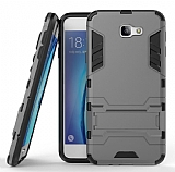 Eiroo Iron Armor Samsung Galaxy J5 Prime Standlı Ultra Koruma Dark Silver Kılıf