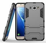 Eiroo Iron Armor Samsung Galaxy J7 2016 Standlı Ultra Koruma Dark Silver Kılıf