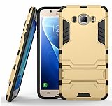 Eiroo Iron Armor Samsung Galaxy J7 2016 Standlı Ultra Koruma Gold Kılıf