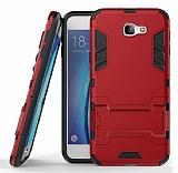 Eiroo Iron Armor Samsung Galaxy J7 Prime Standlı Ultra Koruma Kırmızı Kılıf