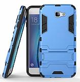 Eiroo Iron Armor Samsung Galaxy J7 Prime Standlı Ultra Koruma Mavi Kılıf