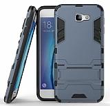 Eiroo Iron Armor Samsung Galaxy J7 Prime Standlı Ultra Koruma Lacivert Kılıf