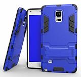 Eiroo Iron Armor Samsung Galaxy Note 4 Standlı Ultra Koruma Mavi Kılıf
