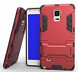 Eiroo Iron Armor Samsung Galaxy Note 4 Standlı Ultra Koruma Kırmızı Kılıf