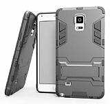 Eiroo Iron Armor Samsung Galaxy Note 4 Standlı Ultra Koruma Dark Silver Kılıf