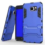 Eiroo Iron Armor Samsung Galaxy Note 5 Standlı Ultra Koruma Mavi Kılıf