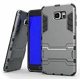 Eiroo Iron Armor Samsung Galaxy Note 5 Standlı Ultra Koruma Dark Silver Kılıf