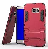 Eiroo Iron Armor Samsung Galaxy S7 Edge Standlı Ultra Koruma Kırmızı Kılıf