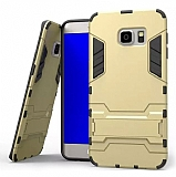Eiroo Iron Armor Samsung Galaxy S7 Edge Standlı Ultra Koruma Gold Kılıf